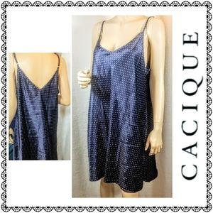 {Cacique} navy satin polka-dot nightgown, 18/20